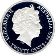 Australia Twenty Cents Masterpiece in 1954 Royal Visit Florin 1998 Proof ELIZABETH II AUSTRALIA 1998 TWENTY CENTS IRB coin obverse