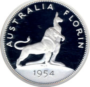 Australia Twenty Cents Masterpiece in 1954 Royal Visit Florin 1998 Proof AUSTRALIA FLORIN 1954 coin reverse
