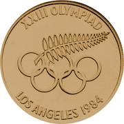 New Zealand Twenty Dollars XXIII Olympiad Los Angeles 1984 Proof X# 6 XXIII OLYMPIAD LOS ANGELES 1984 coin reverse
