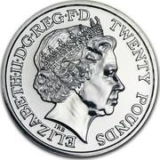 UK Twenty Pounds St. George And The Dragon 2013 BU ELIZABETH∙II∙D∙G REG∙F∙D IRB TWENTY POUNDS coin obverse
