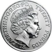 UK Twenty Pounds The First World War 2014 KM# 1327 ELIZABETH II D G REG F D TWENTY POUNDS IRB coin obverse