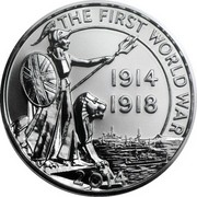UK Twenty Pounds The First World War 2014 KM# 1327 THE FIRST WORLD WAR 1914 1918 2014 JB coin reverse
