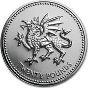 UK Twenty Pounds Welsh Dragon Celebration 2016 BU TWENTY POUNDS coin reverse