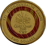 Australia Two Dollars XXI Commonwealth Games 2018 XXI COMMONWEALTH GAMES GOLD COAST 2018 TWO DOLLARS coin reverse