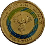 Australia Two Dollars XXI Commonwealth Games (Blue and Green) 2018 GOLD COAST 2018 - CELEBRATE TWO DOLLARS coin reverse