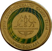 Australia Two Dollars XXI Commonwealth Games - team logo 2018 2018 COMMONWEALTH GAMES TEAM COMMONWEALTH GAMES TWO DOLLARS coin reverse