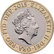 UK Two Pounds Britannia 2015 Proof ELIZABETH II∙DEI∙GRA∙REG∙FID∙DEF∙2015∙ J.C coin obverse