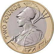 UK Two Pounds Britannia 2015 Proof TWO POUNDS A.D coin reverse