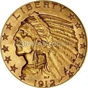 USA $5 Five Dollars (Half eagle) Indian Head 1912 KM# 129 LIBERTY coin obverse