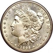 USA Dollar Morgan 1892 CC KM# 110 E ∙ PLURIBUS ∙ UNUM LIBERTY coin obverse
