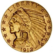 USA Five Dollars Indian Head 1912 KM# 129 LIBERTY coin obverse