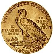 USA Five Dollars Indian Head 1912 KM# 129 UNITED ∙ STATES ∙ OF ∙ AMERICA FIVE ∙ DOLLARS IN GOD WE TRUST E PLURIBUS UNUM coin reverse