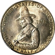 USA Half Dollar Pilgrim Tercentenary 1920 KM# 147.1 * UNITED • STATES • OF • AMERICA * IN GOD WE TRUST PILGRIM • HALF • DOLLAR coin obverse
