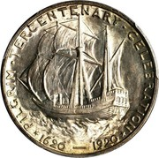 USA Half Dollar Pilgrim Tercentenary 1920 KM# 147.1 * PILGRIM • TERCENTENARY • CELEBRATION * 1620-1920 coin reverse