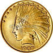 USA $10 Ten dollars (Eagle) Indian Head 1907 without periods KM# 125 LIBERTY DATE coin obverse