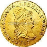 USA $10 Ten dollars (Eagle) Liberty Cap 1797 small eagle KM# 21 LIBERTY DATE coin obverse