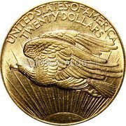 USA Twenty Dollars St. Gaudens Double Eagle - No motto 1908 D KM# 127 UNITED • STATES • OF • AMERICA TWENTY • DOLLARS coin reverse