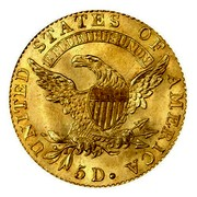 USA 5 D. Capped Bust 1824 KM# 43 UNITED STATES OF AMERICA E PLURIBUS UNUM 5 D. coin reverse