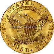 USA $5 Five Dollars (Half eagle) Capped Bust 1824 KM# 43 UNITED STATES OF AMERICA E PLURIBUS UNUM 5 D. coin reverse
