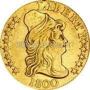 USA $5 Five Dollars (Half eagle) Liberty Cap / Large Heraldic Eagle - Half Eagle 1800 KM# 28 LIBERTY coin obverse