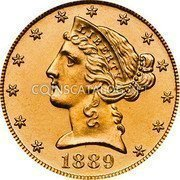 USA $5 Five Dollars (Half eagle) Liberty / Coronet Head - Half Eagle 1889 KM# 101 LIBERTY coin obverse