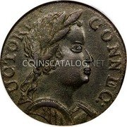 USA Cent Connecticut African Head 1785 KM# 2 AUCTORI. CONNEC: coin obverse