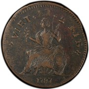 USA Copper 1787 KM# 11 Nova Eboracs VIRT. ET. LIB. coin reverse