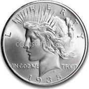 USA Dollar Peace Dollar 1935 S 4 Rays KM# 150 LIBERTY IN GOD WE TRUST coin obverse