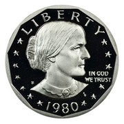 USA Dollar Susan B. Anthony 1980 S Proof KM# 207 LIBERTY IN GOD WE TRUST coin obverse
