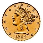 USA Five D. Liberty (Coronet Head) - Half Eagle 1889 KM# 101 LIBERTY coin obverse