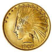USA Ten Dollars Indian Head 1907 without periods KM# 125 LIBERTY DATE coin obverse