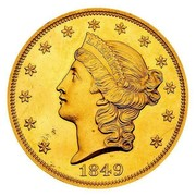 USA Twenty D. Liberty Double Eagle 1849 unique, in Smithsonian collection KM# 74.1 LIBERTY DATE coin obverse