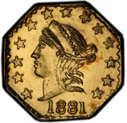 USA 1/4 Doll 1881 KM# 1.10 Small size Gold Coins 1881 coin obverse