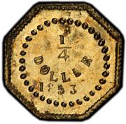 USA 1/4 Dollar 1853 KM# 1.4 Small size Gold Coins 1/4 DOLLAR *YEAR* coin reverse