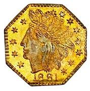USA 1/4 Dollar Dumb indian head (Octagonal) 1881 KM# 2.6 1881 coin obverse