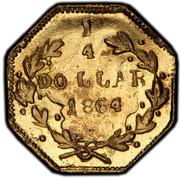 USA 1/4 Dollar Liberty Octagonal 1864 KM# 1.2 1/4 DOLLAR *YEAR* coin reverse