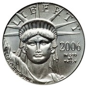 USA $10 Burnished American Eagle 2006 W Proof KM# 389 LIBERTY 2006 IN GOD WE TRUST E PLURIBUS UNUM coin obverse