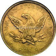 USA $10 Ten Dollars 1851 KM# 19 Baldwin & Company S.M.V. CALIFORNIA GOLD TEN D. coin reverse