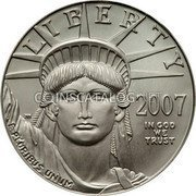 USA $100 One hundred Dollars American Platinum Eagle 2007 W Freedom Frosted Proof KM# 417 LIBERTY 2007 IN GOD WE TRUST E PLURIBUS UNUM coin obverse