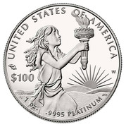 USA $100 Secure the Blessings of Liberty 2014 W Proof KM# 586 UNITED STATES OF AMERICA W 1 OZ. .9995 PLATINUM $100 coin reverse