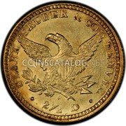USA $2-1/2 Two and half Dollars 1861 KM# 64.2 Clark, Gruber & Company • CLARK, GRUBER & CO. DENVER • 2 1/2 D coin reverse