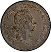 USA 2 Pence Royal Patent 1722 KM# 8.2 GEORGIUS ∙ D : G: ∙ MAG : BRI: FRA : ET ∙ HIB : REX ∙ coin obverse