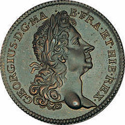 USA 2 Pence Royal Patent 1724 KM# 15 GEORGIUS ∙ D : G ∙ MA ∙ B ∙ FRA ∙ ET ∙ HIB ∙ REX ∙ coin obverse