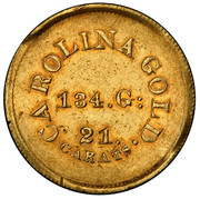 USA 5 Dollars (1831-42) KM# 95 Christopher Bechtler (North Carolina) CAROLINA GOLD 21. CARATS ∙ 134. G: coin reverse