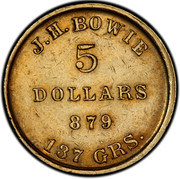 USA 5 Dollars 1849 KM# 22 J. H. Bowie J.H. BOWIE 5 DOLLARS 879 137 GRS. coin obverse