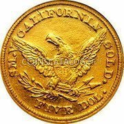 USA $5 Five Dollars 1850 KM# 17 Baldwin & Company S.M.V CALIFORNIA GOLD. FIVE DOL. coin reverse