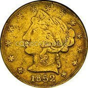 USA $5 Five Dollars 1852 KM# 56 Wass, Molitor & Company W. M. & CO coin obverse