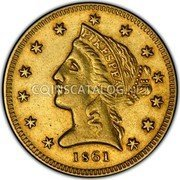 USA $5 Five Dollars Liberty Gold Half Eagle 1861 KM# 66 PIKESPRAK coin obverse