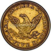 USA $5 Five Dollars Liberty Gold Half Eagle 1861 KM# 66 • CLARK GRUBER & CO DENVER • FIVE D. coin reverse