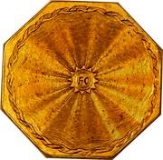 USA 50 D Humbert Gold Ingot U.S. Assay 1851 KM# 32.1a 50 coin reverse